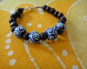 Blue & White African Prayer Bead Bracelet