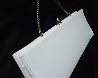 White SLEEK Patent Leather Vintage 1950's Women's CLUTCH Evening Bag