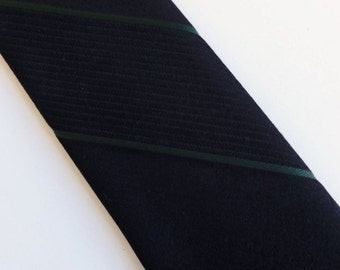 """Vintage 60's Skinny Tie Necktie Black with Forest Green and Tone on Tone Diagonal Stripes Wembley 2"""""""