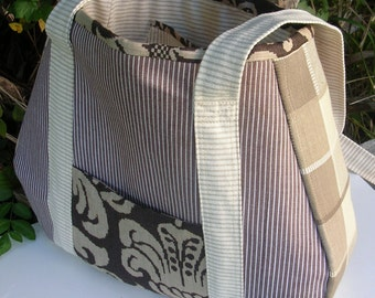 Large Fabric Tote, Brown, Taupe, Natural, Shopping, Crafts, Diaper Bag, Books, Electronics, One of a Kind