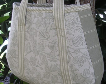 Large Fabric Tote, Olive Green, Natural, Shopping, Crafts, Diaper Bag, Books, Electronics, One of a Kind