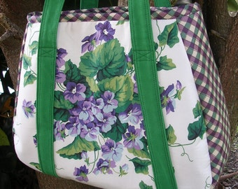 Large Fabric Tote, Lavender, Green, White, Shopping, Crafts, Diaper Bag, Books, Electronics, One of a Kind