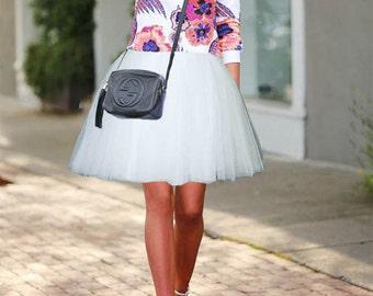 White Tulle skirt. Tea length Tulle skirt.