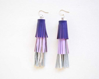 Layered Silver & Purple Leather Tassel Earrings, Statement Earrings, Fringe Earrings