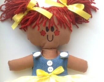 Lilliegiggles Rag Dolls Brown Baby Ragdoll named I Like School Girl cloth doll