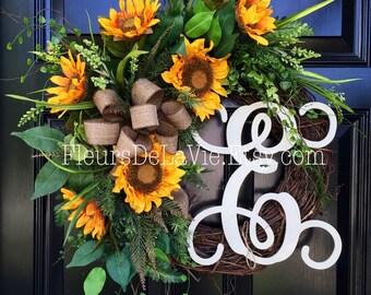 Front Door Wreaths, Fall Wreaths, Fall Wreath for Door, Thanksgiving Door Wreath, House Warming Gift, Home Decor, Sunflower Wreath