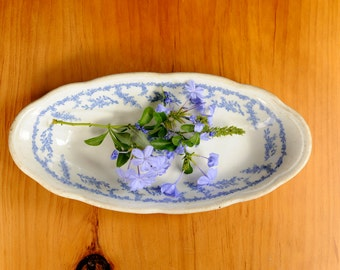 Vintage Syracuse china, vintage blue and white, oval serving dish