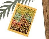 Geometric Card Sleeve + Postcard // Laser Cut Card