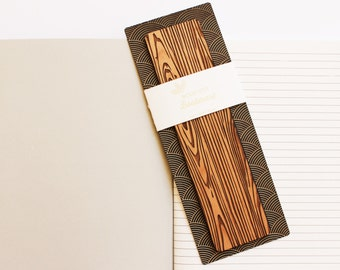 Wood Bookmark // Laser Cut Alder Wood // Faux Grain Design