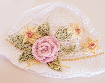 White Flower Hat, Flower Hat With Leaves, White Floral Hat, White Crocheted Bonnet, Pink Rose Hat