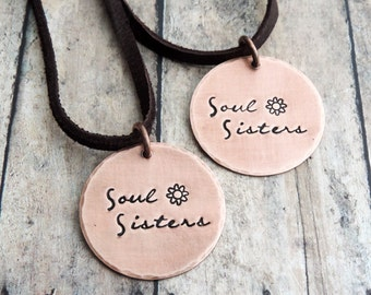Soul Sisters Necklaces -  BFF Necklaces - Two Boho Necklaces for Best Friends - Hand Stamped Copper Jewelry