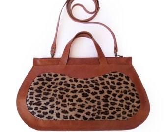 Leopard print cow hide purse, Caramel brown handbag, brown women's purse, cross body purse,