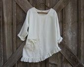 linen contemporary top blouse with asymmetrical hem in winter white ready to ship