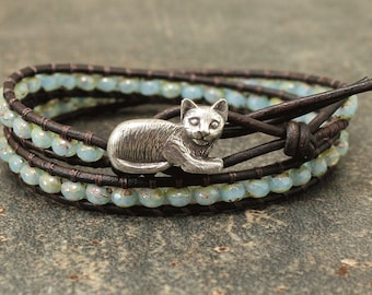 Silver and Turquoise Cat Bracelet Boho Beaded Leather Cat Jewelry