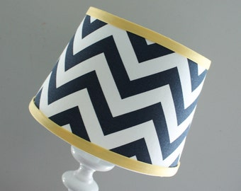 IN STOCK. Navy Chevron lamp shade with accent  yellow.