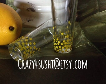 2 Limoncello Glasses Hand Painted Yellow Confetti Polka Dots