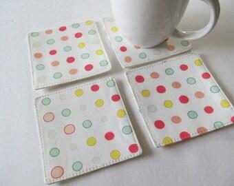 Set Of 4 Fabric Coasters/Multi Dot