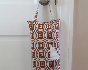 Hanging Tissue Box Cover For Skinny Kleenex/Brown Geometric