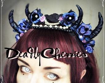 "Elegant  Enchanted Mori  Goth demon horns  flower headband  ""Goddess of The Night "" by Deadly Cherries"