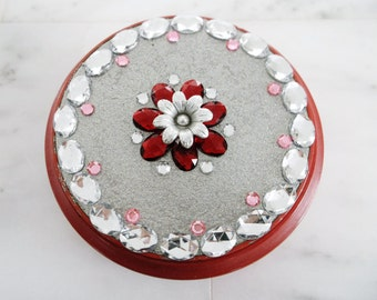 Vintage red glass bowl with lid silver metallic red and pink gems