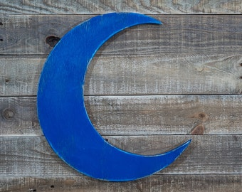 crescent moon wall hanging wooden cut out kid's room playroom house wall decor fun sign birthday gift full moon silhouette blue moon