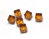 Topaz Swarovski Crystal Cube Beads 5601 6mm