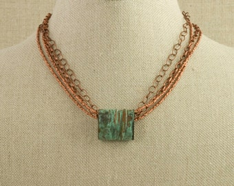 Copper Necklace Pendant Chain Green Patina Rustic Formed Statement