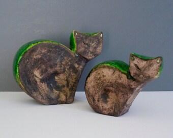 Pair of Mid-Century Modern Italian Ceramic Cats Ivo De Santis Gli Etruschi Rosenthal Netter