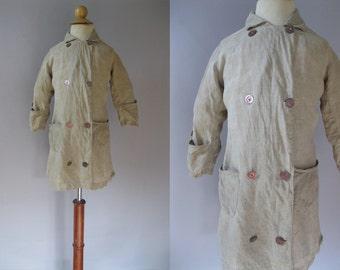 Antique Baby Coat - Edwardian Linen Duster - Unisex