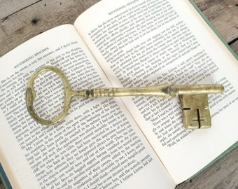 "SHOP SALE! Vintage Williamsburg Restoration 8"" Brass Skeleton Key / Home Decor / Wedding Decor"