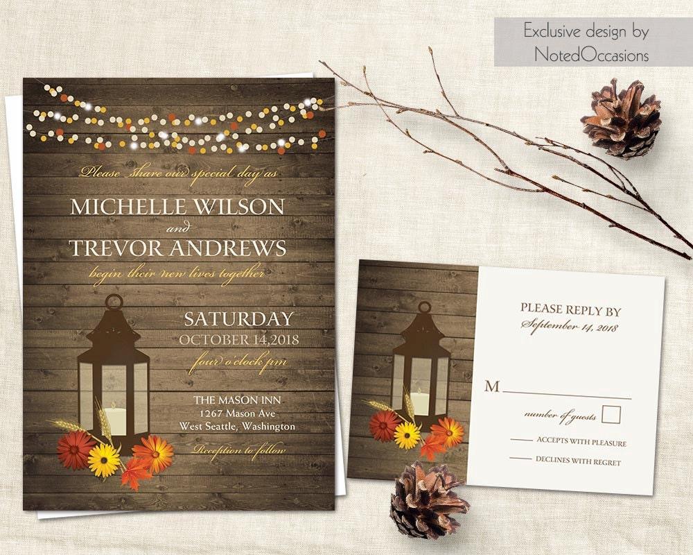 Fall Wedding Invitation Rustic Lantern Country Wedding