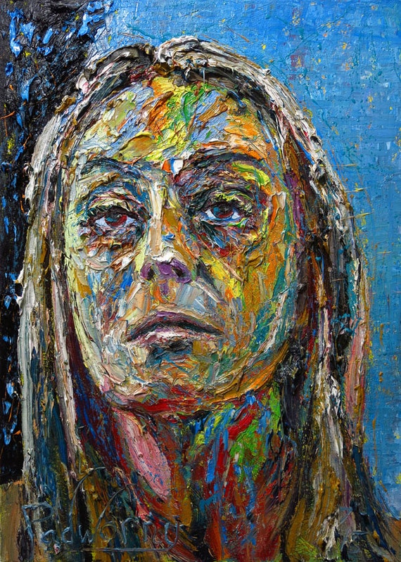 SOLD - Oil Painting 34 by 24 by 2.5 in. / original oil painting large portrait oil painting on original expressionist art oil paint