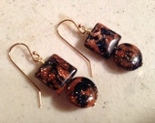 Navy Blue and Brown Earrings - Gold Jewelry - Goldstone Gemstone Jewellery - Fashion - Beaded