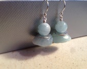 Aquamarine Earrings - March Birthstone Jewelry  - Sterling Silver Jewellery - Natural Gemstone - Funky