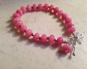 Pink Bracelet - Jade and Pyrite Gemstone Jewelry - Sterling Silver Jewellery - Fashion - Beaded - Charm