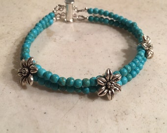 Turquoise Bracelet - Multi Strand Jewelry - Silver Jewellery - Flower Connector - Fashion - Trendy - Gemstone