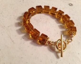 Brown Bracelet - Gold Jewellery - Chunky Jewelry - Beaded - Fashion - Trendy