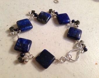 Lapis Bracelet - Navy Blue Jewelry - Pyrite Gemstone Jewellery - Sterling Silver - Fashion - Unique
