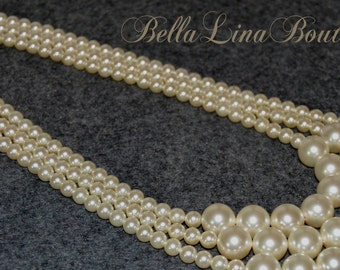 Three Strand Bridal Necklace With Graduated Swarovski Pearls