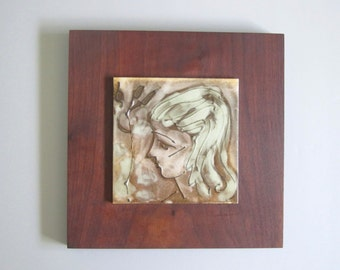 Mid century portrait/ woman/ hand painted tile on wood/ MCM artwork