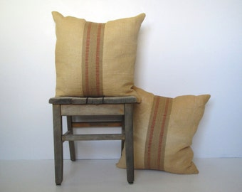 vintage blonde burlap pillow with jute webbing/ rustic pillow/ accent pillow