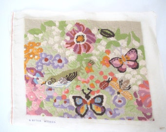 Vintage needlepoint/ Erica Wilson/butterflies/ green pink purple