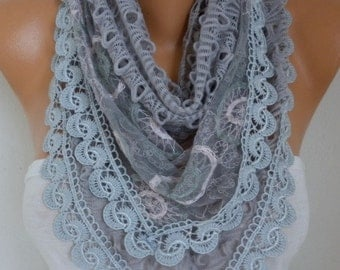 Gray Lace Scarf, Fall Scarf,Cowl Scarf, Gift Ideas For Her ,Women Fashion Accessories, Christmas Gift