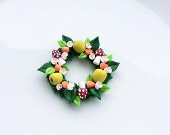 Miniature Autumn Fall fruit wreath for 1:12 scale dollhouse handmade from polymer clay