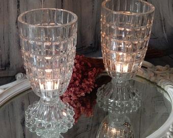 Large One Of a Kind ~ UPCYCLED Antique Crystal Lamp~antique Candle Holder ~ Large Candle HURRICANE ~Sconce ~ Holder Vase