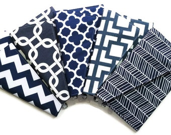 Navy Bridesmaid Clutches Envelope Clutches Personalized Clutches - You Choose Navy Fabrics Set of 5
