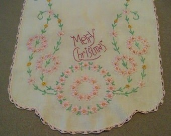 Merry Christmas Stitchery on Vintage Linen Primitive Country