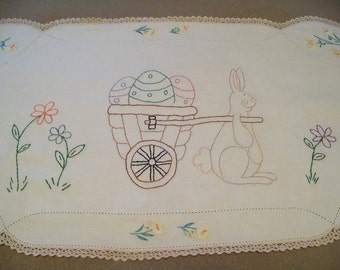 Spring Easter Stitchery on Vintage Linen Primitive Country