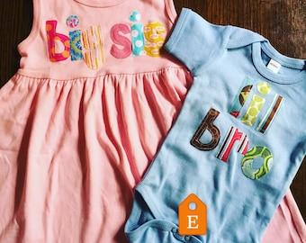 Big Sister Little Brother Dress and Shirt Set - Sibling Sets, Big Sister Little Brother, Baby brother, Lil Bro