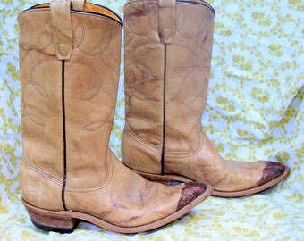 Tan Wrangler Cowgirl Boots with Snakeskin Toes - Size 7 - Distressed Leather Boots - Vintage Shoes - Good Vintage Condition